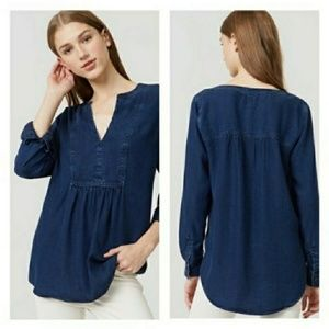 LOFT The Softened Shirt Chambray Popover Tunic